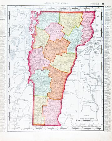 Color map of the state of Vermont from 1900.
