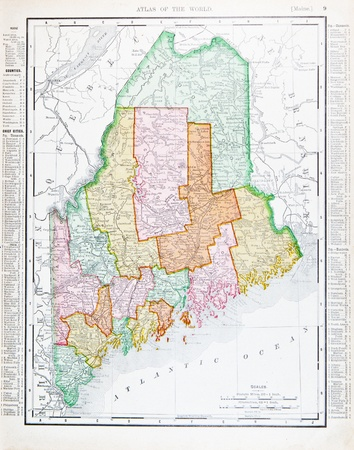 Old map of the State of Maine, USA, 1900