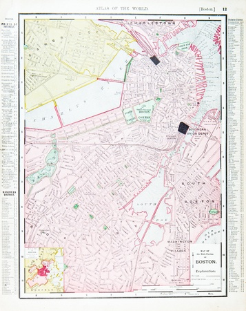 Vintage street map, downtown Boston, MA, United States, 1900