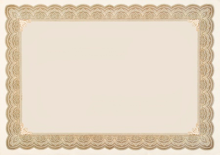 Old stock certificate boarder.  The original content of the certificate has been removed, so just the boarder remains.