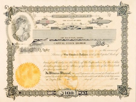 Stock certificate from an Ohio, USA company issued in 1904.  The vignette in the upper left has a young woman looking over her shoulder with a star on her forehead. Editorial