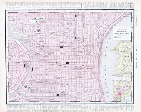 Vintage Map Of Philadelphia PA United States Stock Photo - Us map philadelphia pa
