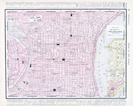 old photograph: Vintage map of Philadelphia, PA, United States 1900