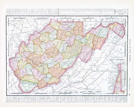west virginia: Vintage map of the state of West Virginia, USA, 1900