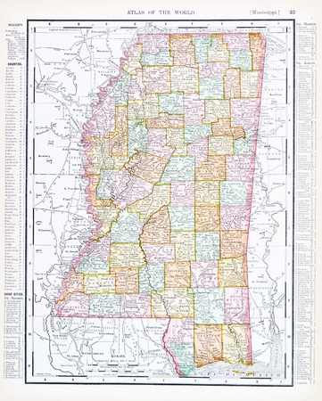 mississippi: Vintage map of the State of Mississippi, USA, 1900