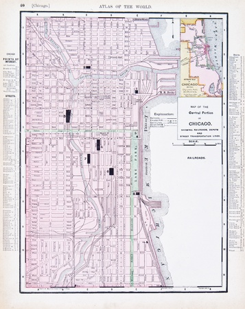 Chicago: Vintage map of Chicago, IL, United States, 1900 Stock Photo
