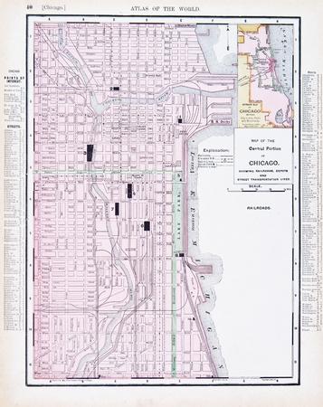 Vintage map of Chicago, IL, United States, 1900 Foto de archivo