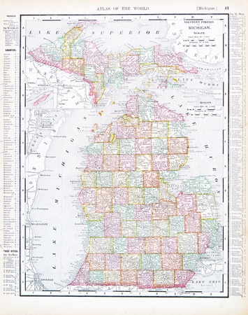 upper: Vintage map of the state of Michigan, United States, 1900