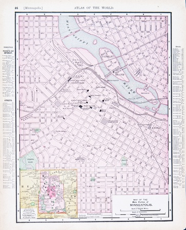 Vintage map of Minneapolis, Minnesota, MN, United States, 1900