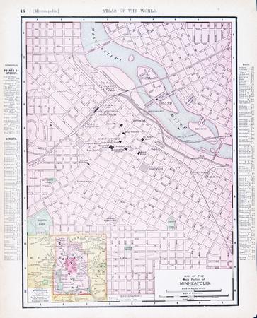 old photograph: Vintage map of Minneapolis, Minnesota, MN, United States, 1900