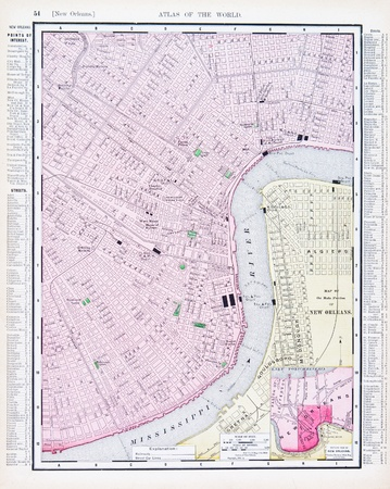 louisiana state: Vintage map of New Orleans, LA, USA, 1900
