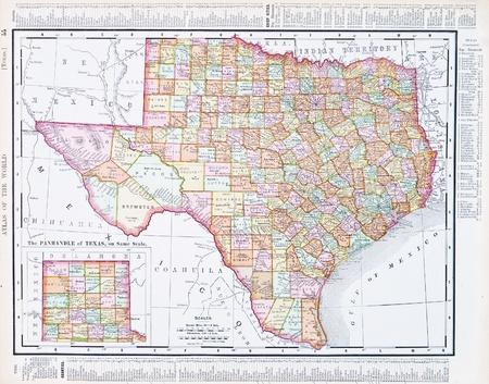 Vintage kaart van de staat Texas, Verenigde Staten, 1900