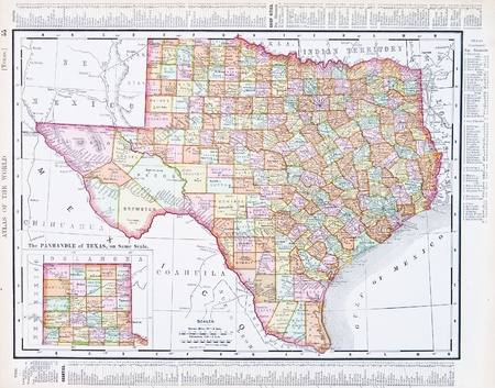 Vintage map of the state of Texas, TX United States, 1900 Editorial