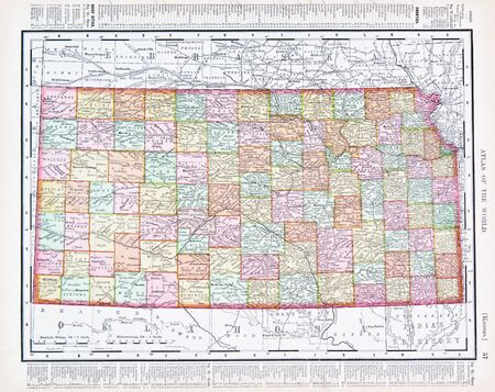 Vintage map of the state of Kansas, United States, 1900