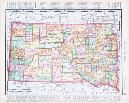Vintage map of the state of South Dekota, SD, United States, 1900