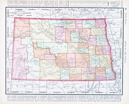 Vintage map of the state of North Dakota, United States, 1900