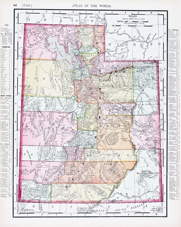 old photograph: Vintage map of the state of Utah, United States, 1900