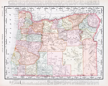 Vintage Map Of The State Of Oregon United States Stock - Oregon map us