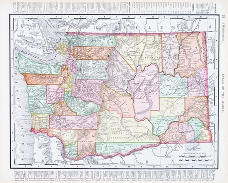 Vintage Map Of Washington State United States Stock Photo - Us map in 1900