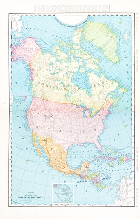 Vintage map of North America including USA, Mexico, and Canada, 1900.  Stitched from 2 images Editorial