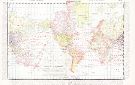 Vintage world map stitched from 2 original files.  Map has the America's at the center, 1900