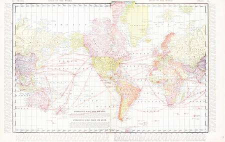 Vintage wereldkaart gestikt van 2 originele bestanden. Kaart heeft de America's in het centrum, 1900
