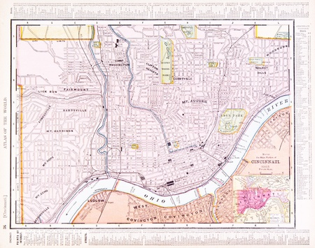 Vintage Map Of Cincinnati OH USA Stock Photo Picture And - Cincinnati in us map
