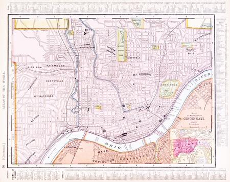 Vintage map of Cincinnati, OH, USA, 1900