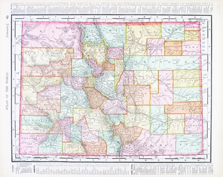 colorado state: Vintage map of the state of Colorado, USA, 1900 Editorial