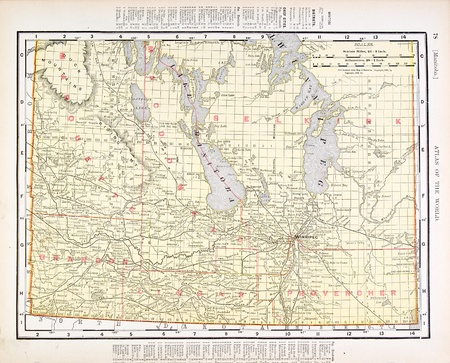 lake winnipeg: Vintage map of Manitoba, Canada, 1900