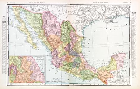 mexiko karte: Vintage Karte von Mexiko - aus 2 separate Bilder gen�ht, 1900