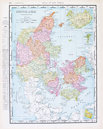denmark: Vintage map of Denmark and Iceland from 1898.