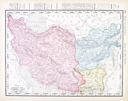 Vintage map of Iran and Afganistan, 1900