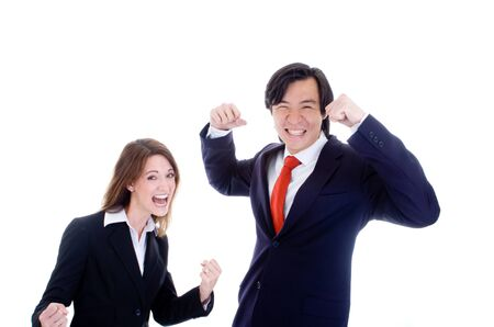 Caucasian Woman Asian Man in Suits Cheering photo