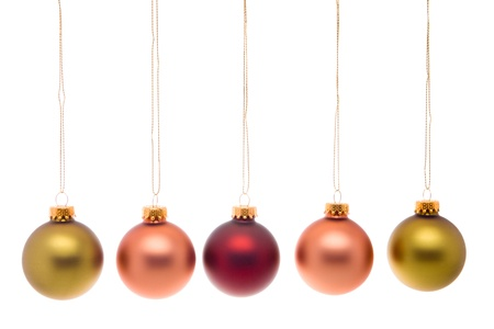 gold string: Hanging Christmas balls. Stock Photo