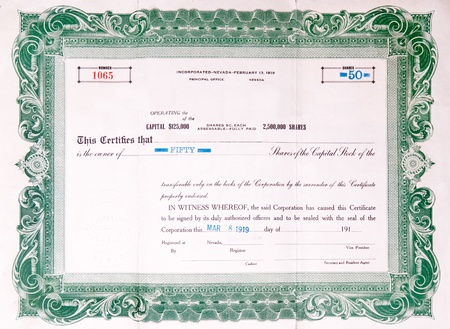 Green U.S. stock certificate issued in 1919. Stock Photo - 11044593