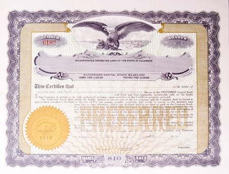 stock certificate: U.S. Stock certificate issued in 1919. Editorial
