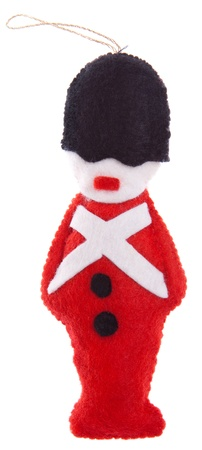 beefeater: Homemade felt Christmas tree ornament. Stock Photo