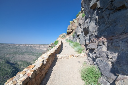 precarious: Hiking path at the Rio Grande Gorge in New Mexico, United States.