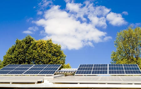 solar panel roof: Solar panels on a roof. Stock Photo