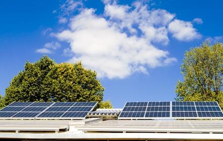solar panel: Solar panels on a roof. Stock Photo