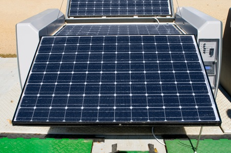 solar array: Collapsible solar power system.  Panels fold up into case for easy transport.