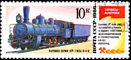 franked: USSR- CIRCA 1986:  A stamp printed in the USSR shows the OV-5109 steam locomotive made in 1907, circa 1986.