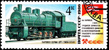 franked: USSR- CIRCA 1986:  A stamp printed in the USSR shows the EU 684-37 steam locomotive made in 1929, circa 1986.