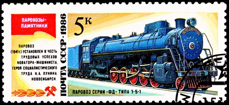 franked: USSR- CIRCA 1986:  A stamp printed in the USSR shows the FD 21-3000 steam locomotive made in 1929, circa 1986.