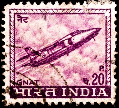 franked: INDIA - CIRCA 1967:  A stamp printed in the USSR shows a Folland Gnat fighter jet from the Indian Airforce, circa 1967.