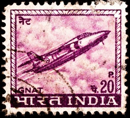 moscerino: INDIA - CIRCA 1967: Un francobollo stampato in URSS mostra un jet da combattimento Folland Gnat dalla Militare indiana, circa 1967. Archivio Fotografico