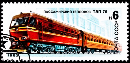 franked: USSR- CIRCA 1982:  A stamp printed in the USSR shows a TEP-75 Diesel locomotive pulling a passenger train, circa 1982.