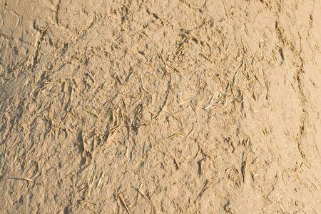 mud wall: Close up of a full frame adobe wall with straw fibers visible.  Santa Fe, New Mexico. Stock Photo
