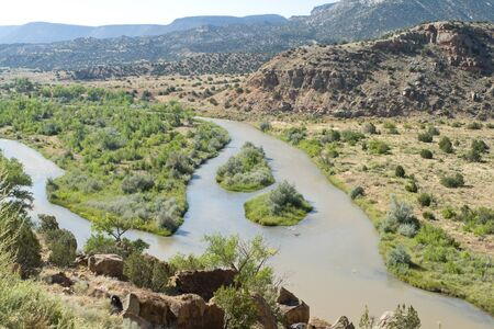 Rio Chama River North Central New Mexico Jemez Mountains in background photo
